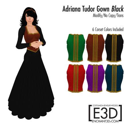Adriana Tudor Gown Black
