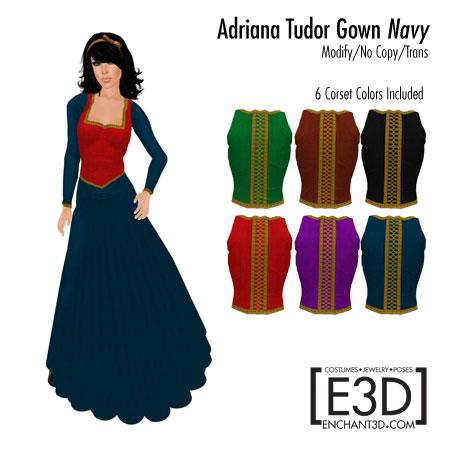Adriana Tudor Gown Navy
